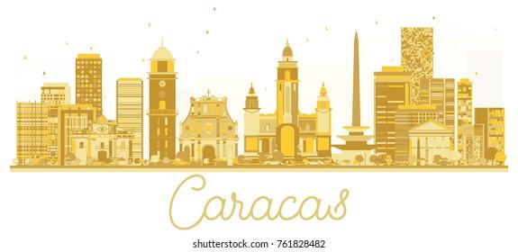 Caracas Venezuela City skyline golden silhouette. Vector illustration. Cityscape with landmarks.