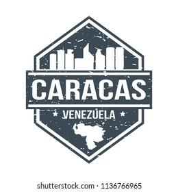 Caracas Venezuela Travel Stamp Icon Skyline City Design Tourism