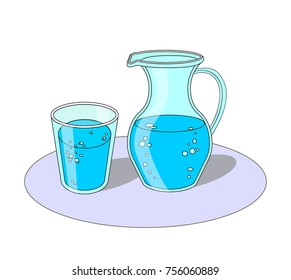 Carafe and glass of water blue colour vector