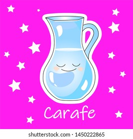 a carafe or jug for water and milk on a pink background. Children's card
