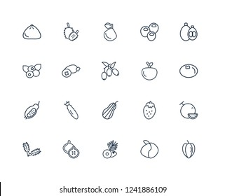 Carambola, Peach, Coconut, Fig, Arugula, Loquat, Yuzu, Butternut squash, Guava, Feijoa, Soursop outline vector icons from 20 set