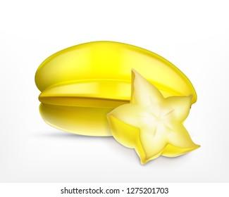 Carambola and carambola slice. Vector icon. EPS10