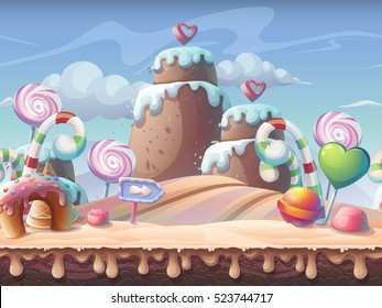 Caramel background vector illustration. Sweet landscape for print, create videos or web graphic design, game user interface, card, poster.