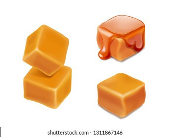 Caramel candies 3d isolated vector