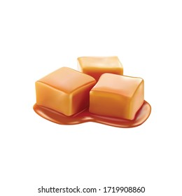 Caramel candies glazed with toffee sauce. Vector design isolated on white background. 3D realistic caramel slice vector design.
