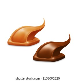 Caramel and chocolate, vector icons.