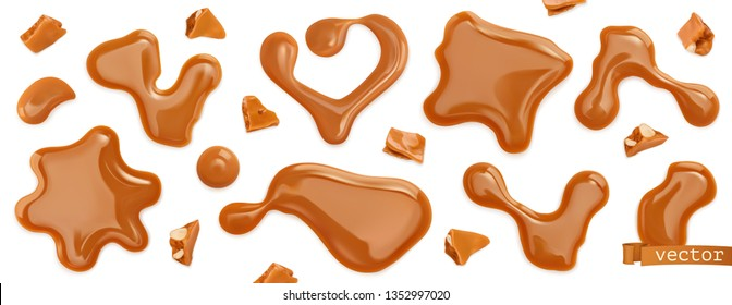 Caramel drops vectorized image. Toffee, caramelization sugar. 3d realistic vector set