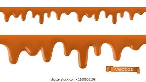 Caramel flows. Seamless pattern. 3d vector