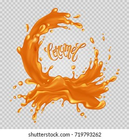 "Caramel frame. Liquid splash and drops on a transparent background. Handwritten inscription ""Caramel"". Vector illustration."