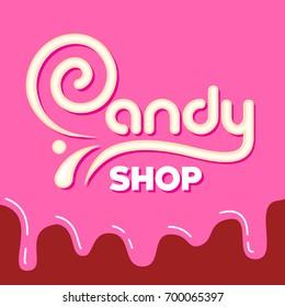 Caramel inscription Candy Shop. Vector illustration.