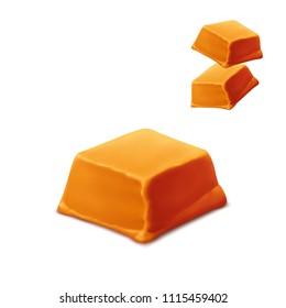 Caramel piece vector.