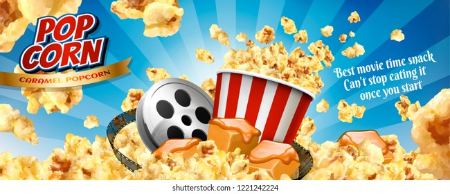 Caramel popcorn banner ads with flying corns and cinema items in 3d illustration