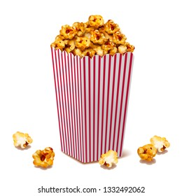 Caramel popcorn in classic striped container, 3d illustration design