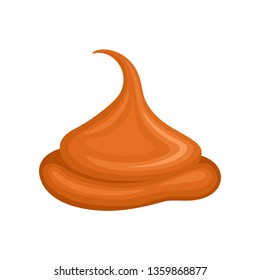 Caramel sauce on white background. Vector illustration.