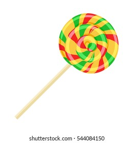 Caramel striped candy on stick isolated vector. Funny sweet cartoon lolly confectionery illustration in flat design. Bonbon sweetmeat sweet stuff lollipop. Delicious colorful spiral dessert