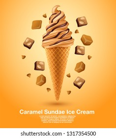 Caramel Sundae Soft Serve : Vector Illustration