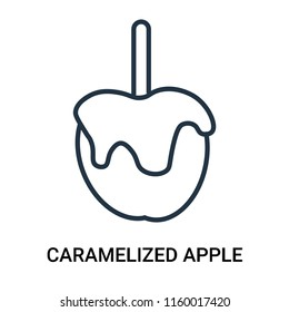 Caramelized apple icon vector isolated on white background, Caramelized apple transparent sign , outline linear symbol or thin lined pictogram
