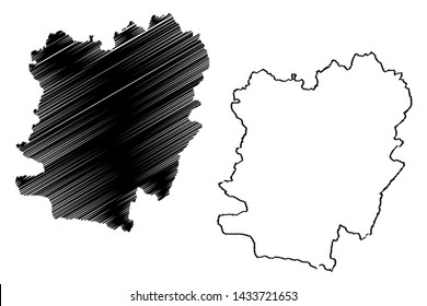 Caras-Severin County (Administrative divisions of Romania, Vest development region) map vector illustration, scribble sketch Caras-Severin map