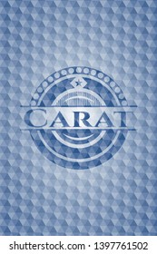 Carat blue emblem or badge with abstract geometric pattern background. Vector Illustration. Detailed.