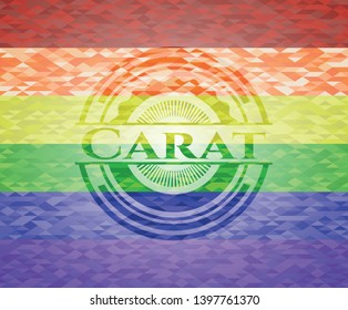 Carat emblem on mosaic background with the colors of the LGBT flag