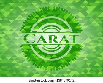 Carat green emblem. Mosaic background. Vector Illustration. Detailed.