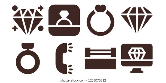 carat icon set. 8 filled carat icons. Simple modern icons about  - Ring, Diamond