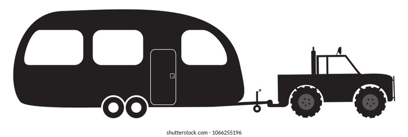 A caravan and 4x4 silhouette isolated on a white background