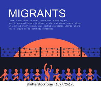 the caravan of blocked migrants. the hope of refugees crossing the border. illegal immigration. emigration and freedom concept. country boundary wall. restricted immigrants. crowded people silhouette.