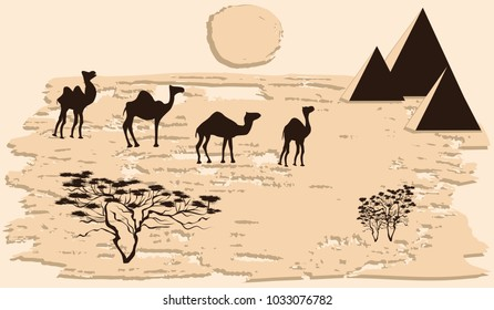 Caravan of camels in the desert, saxaul, pyramid, sun - abstract grunge light beige background - vector art illustration. Travel Poster