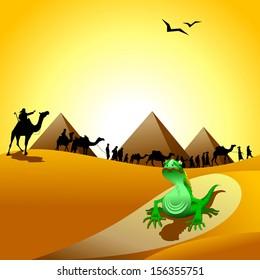 Caravan of camels going through the desert, illustration, vector