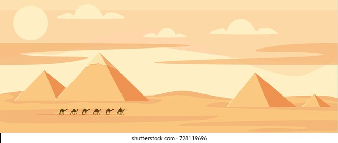 Caravan of camels near Egypt pyramids landscape. Egyptian great pyramids in the desert on a background. Dry desert under sun, endless sand desert.