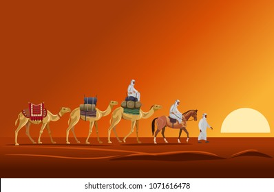 Caravan of camels walking in the desert on a sunset background. Vector illustration