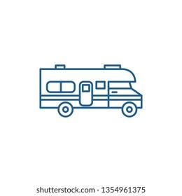Caravan car line icon concept. Caravan car flat  vector symbol, sign, outline illustration.
