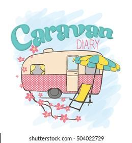 caravan, cute caravan, Family traveler truck summer trip concept,  Pink trailer, T-shirt print