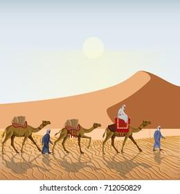 Caravan in the desert. Vector illustration