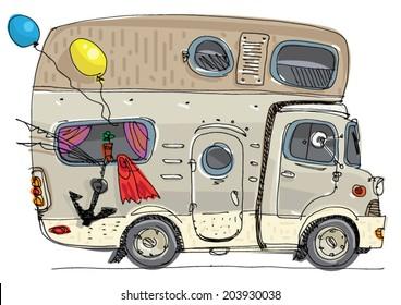 caravan - motor home - cartoon
