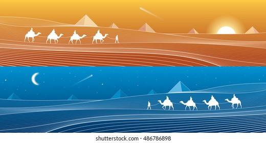 Caravan passes through the sand desert, dunes, pyramids on the horizon, white lines on blue background, day and night panorama, vector design art