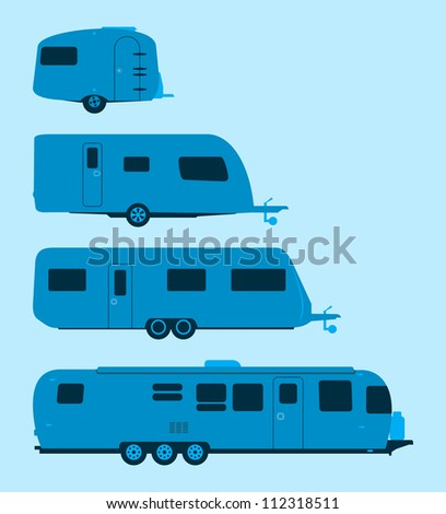 Caravan Silhouette - Several mobile homes illustration in blue colors