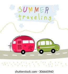 Caravan summer vacation travel. Road trip creative vector illustration.