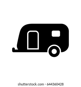 Caravan trailer icon simple flat vector illustration.