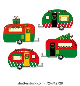 Caravan vector in green red.