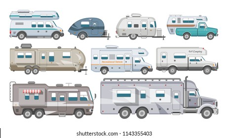 Caravan vector rv camping trailer and caravanning vehicle for traveling or journey illustration transportable set of camp van or tourism transport isolated on white background