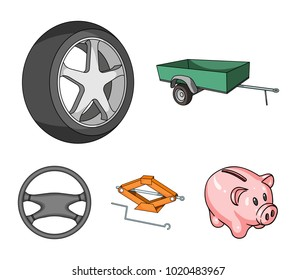 Caravan, wheel with tire cover, mechanical jack, steering wheel, Car set collection icons in cartoon style vector symbol stock illustration web.