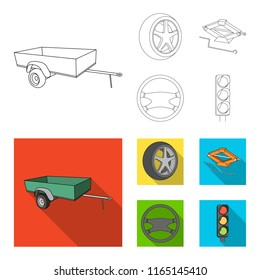 Caravan, wheel with tire cover, mechanical jack, steering wheel, Car set collection icons in outline,flat style vector symbol stock illustration web.