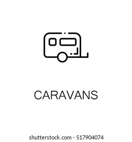 Caravans flat icon. Single high quality outline symbol of recreation for web design or mobile app. Thin line signs of caravans for design logo, visit card, etc.