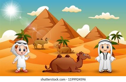 Caravans are herding camels in the desert