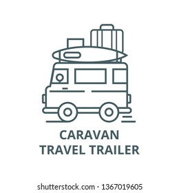 Caravan,travel camping trailer line icon, vector. Caravan,travel camping trailer outline sign, concept symbol, flat illustration