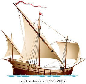 Caravel, Age of Discovery sailing ship vector illustration