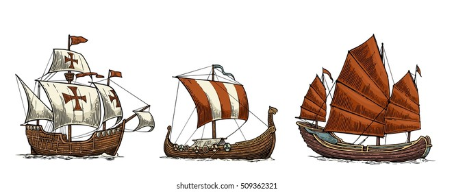 Caravel, drakkar viking, junk. Set sailing ships floating on the sea waves. Hand drawn design element. Vintage color vector engraving illustration for poster, postmark. Isolated on white background.