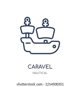 caravel icon. caravel linear symbol design from Nautical collection. Simple outline element vector illustration on white background.